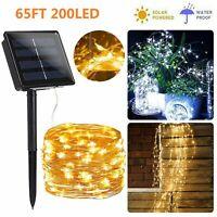 200 LED Solar Fairy String Light Copper Wire Waterproof Outdoor Garden Decor 20M