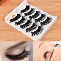 5 Pair Blue+Black Long Thick Cross False Eyelashes Handmade Eye Lashes Makeup FE