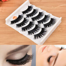 5 Pairs Blue+Black Long Thick Cross False Eyelashes Handmade eye lashes makeupEO
