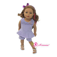 "Doll Clothes 18"" Romper Jumpsuit Lavender Fits American Girl Dolls"
