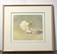 Mark Adams Aquatint Etching Rose in Jar Signed and Numbered Print #17 of 50 1981