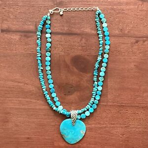 Heart Pendant Natural Turquoise Bead Necklace Designer Jay King Mine Finds 925