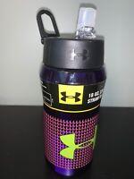 Under Armour Thermos 18 oz Hydration Bottle Straw Flip Top purple/green logo M