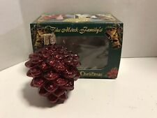 Vintage Merck Old World Christmas Glass Ornament Red Pine Cone