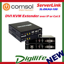 ServerLink DVI KVM Extender over IP or Cat 5-DVI,USB 2.0,Audio & Mic up to 100m