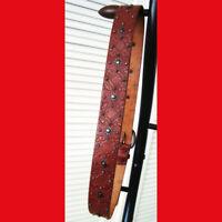 Vintage Fossil Ladies Tooled Studded Leather Belt Chestnut Size L