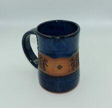 "Always Azul Pottery Villa Grove Colorado Beer Mug 6"" tall Dancing Flute Indians"