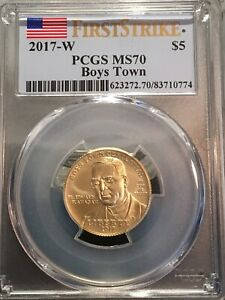 2017-W US Gold $5 BOYS TOWN Commemorative  PCGS MS70 First Strike