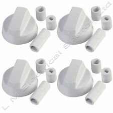 4 X Universal Cooker Oven Hob White Control Knobs Dials & Adaptors - Fits All