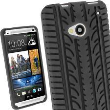 Schwarz Silikon Tasche Hülle für HTC One M7 Android Reifen Hülle + Schutzfolie