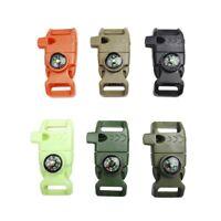 Survival Equipment Kit Whistle Buckle Paracord Bracelet Flint Fire Compass 1PCS