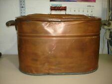 New listing Antique Revere Copper Wash Tub With Original Red Wodden Handles And Copper Lid