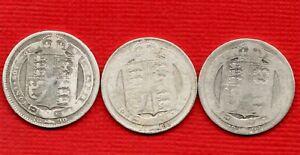 1890 1891 1892 SILVER SHILLING COINS. VICTORIA JUBILEE HEAD. 3 x 1/-. JOB LOT.