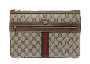 NEW GUCCI OPHIDIA LUXURY SUPREME LEATHER WEB DOUBLE G LOGO POUCH CLUTCH BAG