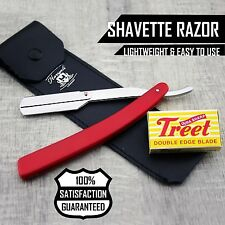 Men's Shaving Barber Shavette/Cut Throat Razor Red With Leather Pouch+Half Blade