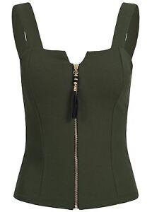 B18067736 Damen Violet Top Zipper kurzer enger Schnitt Brustpads grün