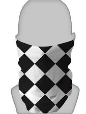 BLACK WHITE DIAMOND DESIGN NECK WARMER FACE MASK SCARF SNOOD L&S PRINTS