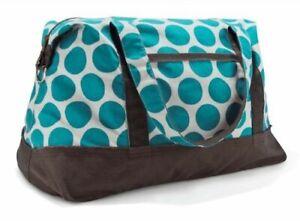 New Thirty one Retro Metro Weekender travel Duffel bag 31 gift in Teal Mod dot