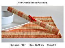 4 Bamboo Manteles Individuales Hecho a Mano Mesa esteras, Rojo-Crema (marrón natural), P037