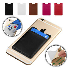 Leather 3M Adhesive Stick Back Card Holder Sleeve Pouch For Mobile Cell Phone