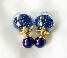 Fashion Jewel Blue Beads Double Sided Faux Tribal Front Back Beads Glass Earring