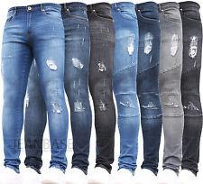 Mens Super Skinny Stretch Ripped Biker Blue Denim Jeans All Waist Sizes