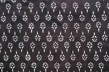 2½ Yards Hand Printed Cotton Block Print New Black Fabric White Flowers