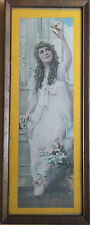 Mary Pickford Signed Lithograph in Original Glass Wood Frame 1920's