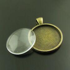 3X Retro Bronze Round Pendant Setting Tray With Glass Cameo Cabochon Base Charm