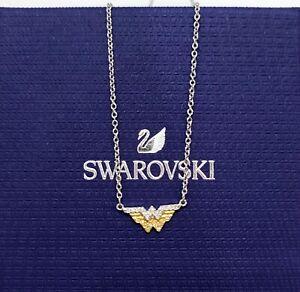 New SWAROVSKI Gold Rhodium Fit Wonder Woman Logo Pendant Necklace 5522407