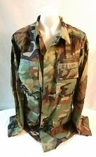 MILITARY ISSUE U.S . BDU  SHIRT WOODLAND CAMO LARGE-X-long  hunting patches #21