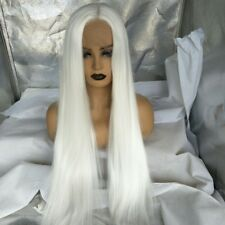 """US STOCK 24"""" White Lace Front Wig Long Straight Synthetic Hair Heat Safe"""