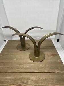 Set of 2 Midcentury Swedish Tulip Brass Candleholders Ystad Metall Style Modern