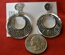 Sterling Silver Stud Aztec Calendar Earrings .925 DIAMOND CUT NEW