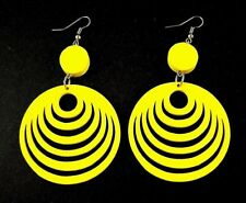 Yellow Round Swirl Lightweight Wood Laser Cut Dangle Fashion Earrings - # B332