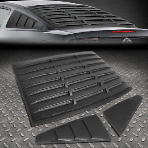 FOR 05-14 FORD MUSTANG BLACK REAR+SIDE QUARTER WINDOW LOUVERS SUN SHADE COVER