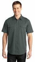 Port Authority Men's Button Down Chest Pocket Short Sleeve Twill Shirt. S648
