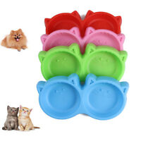 Pet Double Bowl Cat Face Shaped Dog Food Feeding Tool Plastic Puppy Non Toxic