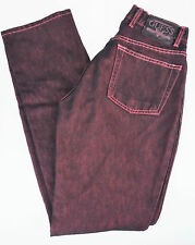 Womens 26 Guess Denim Jeans Bootleg Color Pink & Black