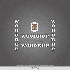 0674 Woodrup Bicycle Stickers - Decals - Transfers - White Text With Black Key