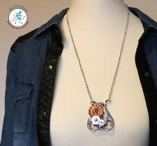 Anhänger Halskette Lyra Zupfinstrument Steampunk Zahnräder Uhr Musik