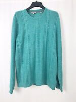 Mens Ted Baker Teal Green Cable Knit Jumper Wool Blend Size 5 (XL)