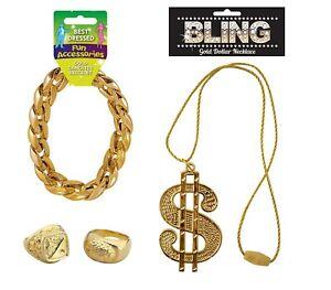 Gangster Pimp Medallion Dollar Necklace + Gold Bracelet + Sovereign Gold Ring