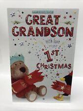 Wonderful Great Grandson 1st Christmas Greeting Card