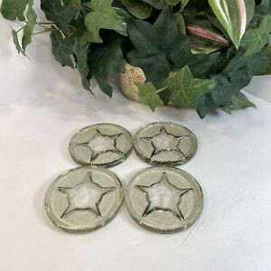 4 Vintage heavy glass coaster furniture protector star Pattern