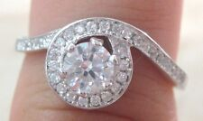 925 STAMPED - REAL Sterling Silver 4.5mm Round Halo Cz Engagement/Dress Ring