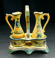 Henriot Quimper 2 Small Jugs With a Serving Tray SIGNED, With Colour Flaws