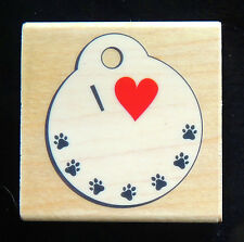 "Rubber Stamp PAW PRINTS HEART DOG CAT ID TAG 2"" Diameter Create Cool Pet Designs"