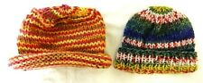 2 Handmade Knitted Toboggan Beanie Hats Kids Girls Toddler Baby Doll Multi Color