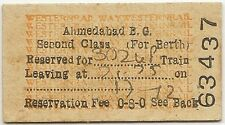 India 1950s WR Railway ticket 2nd Class Reservation Fee Ahmedabad 302up